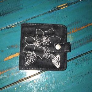 Black ROXY corduroy wallet